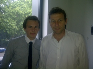 Stuart Appleby with former England cricket captain Michael Atherton, after interviewing him