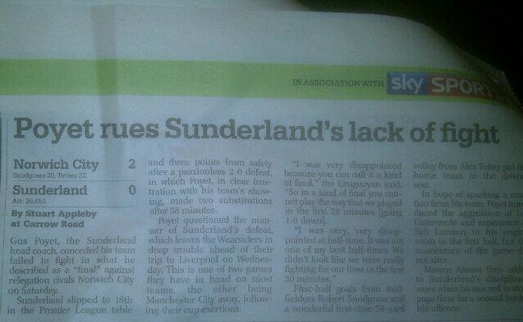 My piece with Sunderland manager Gus Poyet (March 2013)