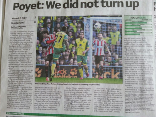 My Sunday Telegraph match report, covering Norwich's home encounter with Sunderland (March 2013)