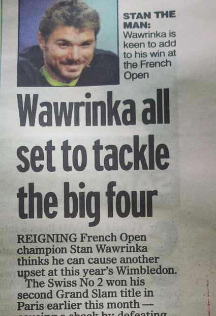 Interview with world number four Stan Wawrinka for the Mail on Sunday