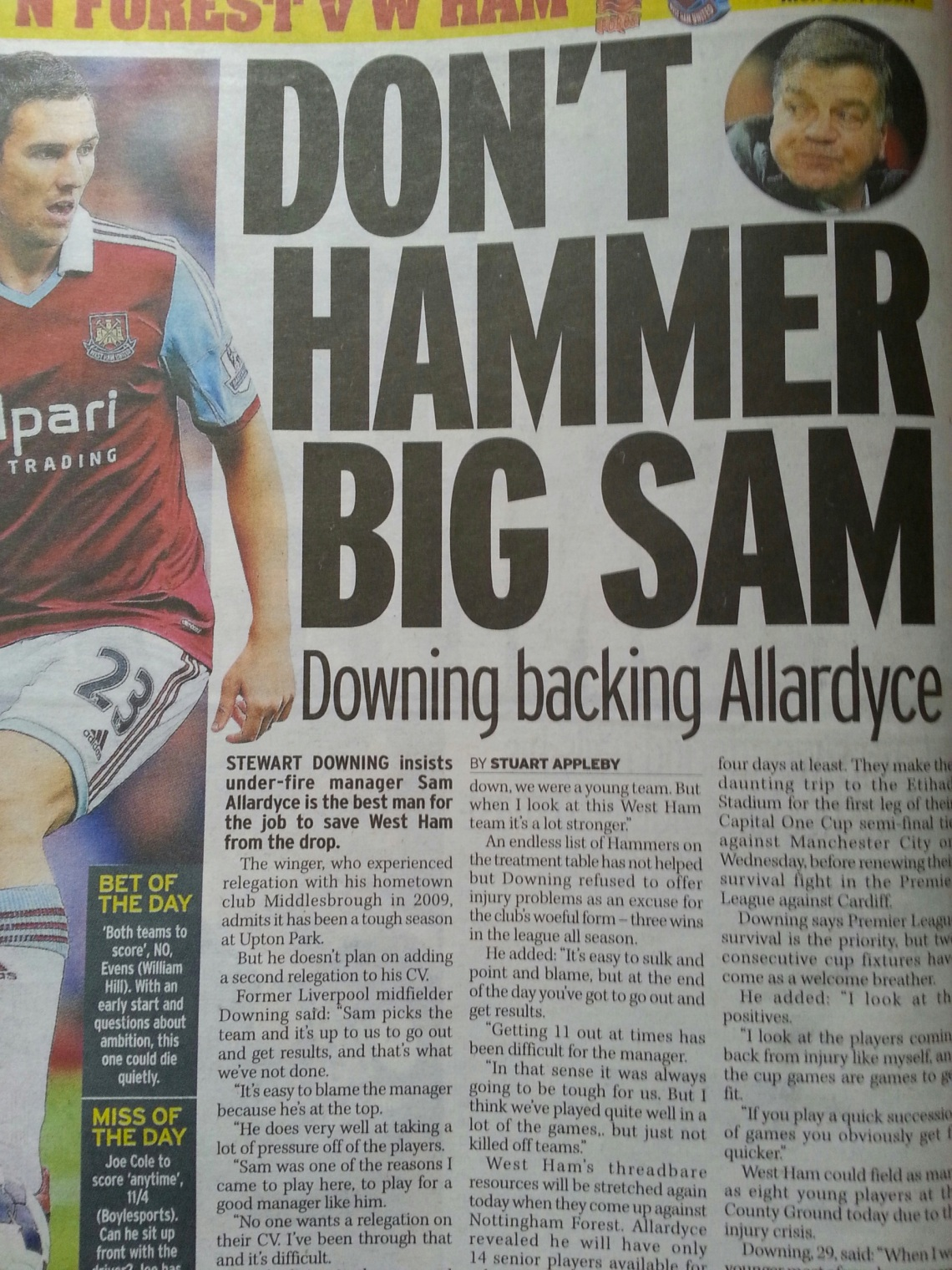 Stewart Downing interview on West Ham manager Sam Allardyce
