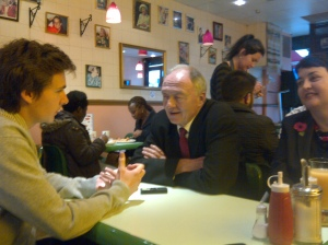 Interviewing former 2012 Labour Mayoral candidate Ken Livingstone as he stopped for a short break before campaigning in Walthamstow.