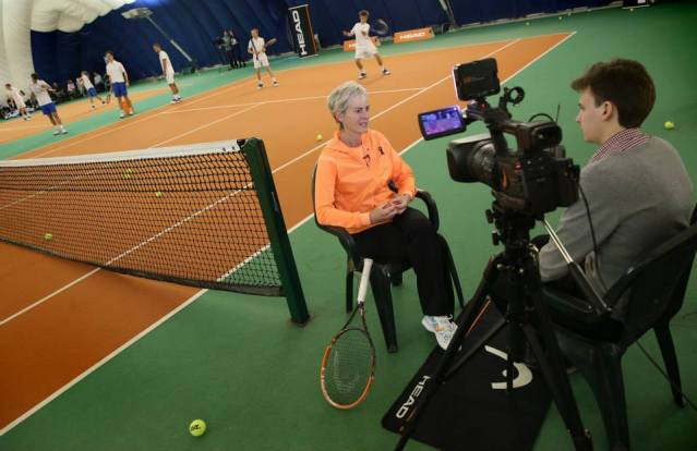 Interviewing tennis coach Judy Murray