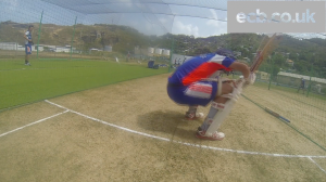 Watching my GoPro in action and England batsman Jonathan Trott duck a Liam Plunkett bouncer during a net session in Grenada