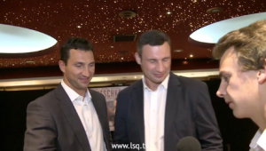 Stuart Appleby interviewing boxing's Klitschko brothers