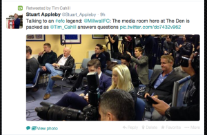 Pitching a question to Tim Cahill at his Australia press conference