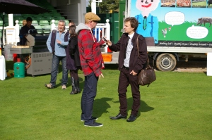 Stuart Appleby interviewing Radio DJ and Television star Chris Evans (Image courtesy of the BBC's Dusan Bozic)