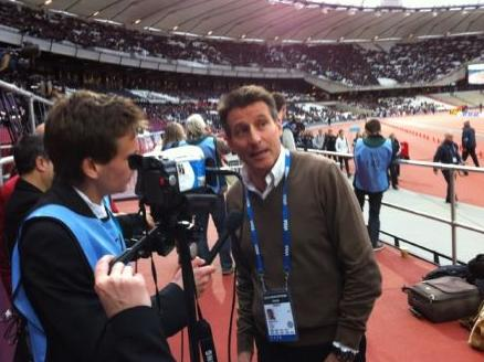 Stuart Appleby interviewing London 2012 Chair Lord Coe inside the Olympic Stadium