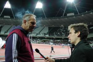 Stuart Appleby interviewing Sir Steve Redgrave before the official opening of the Olympic Stadium in London