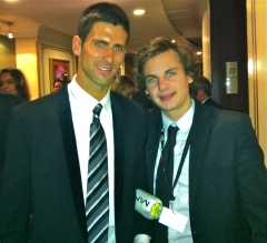 Stuart Appleby with the World's Number One tennis player Novak Djokovic, after interviewing him