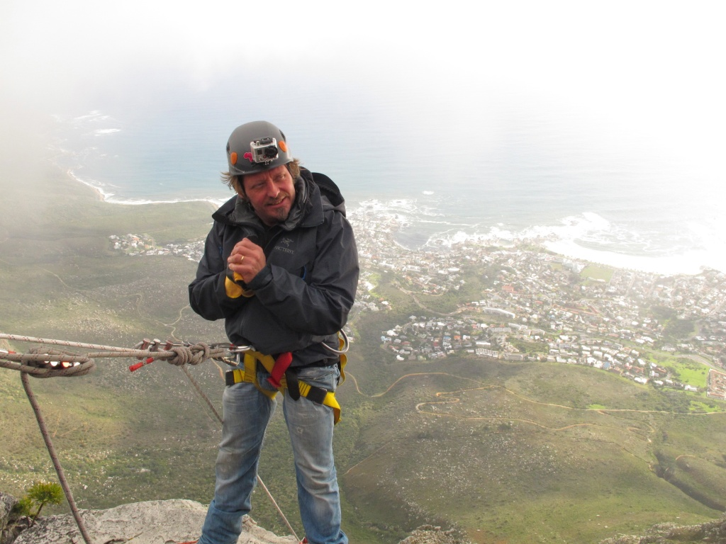 Charley gets set to begin his abseil down Table Mountain