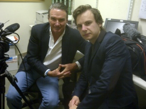 Stuart Appleby with tennis legend Jimmy Connors after interviewing him
