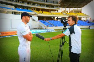 Interviewing James Anderson after he surpassed Sir Ian Botham's Test wicket-taking record for England in Antigua, Caribbean