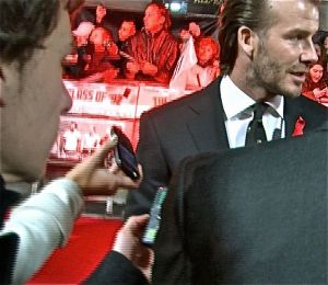 Stuart Appleby interviewing David Beckham