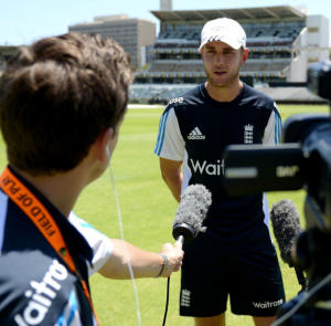 Interviewing England fast bowler Stuart Broad on the WACA outfield