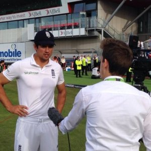 Interviewing England captain Alastair Cook after a Test win over India at Old Trafford