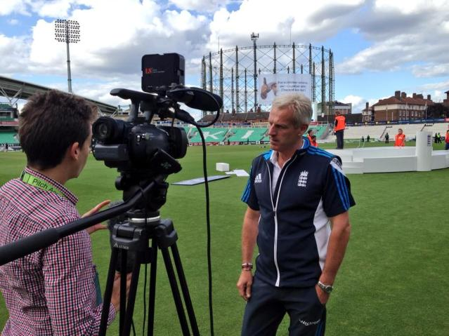 Stuart Appleby interviewing England coach Peter Moores