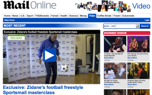Zinedine Zidane features on the Daily Mail website