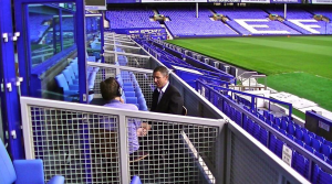Everton Former Players' Foundation's Stuart Appleby interviews Goodison Park hero Gareth Farrelly