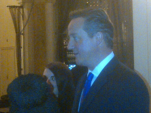 Prime Minister David Cameron in the hotel lobby reception