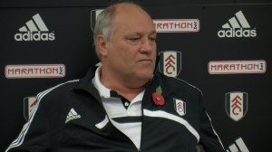 Filming Fulham manager Martin Jol at the Club's Motspur Park training base
