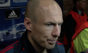 Arjen Robben reacts to Bayern's draw against Manchester United