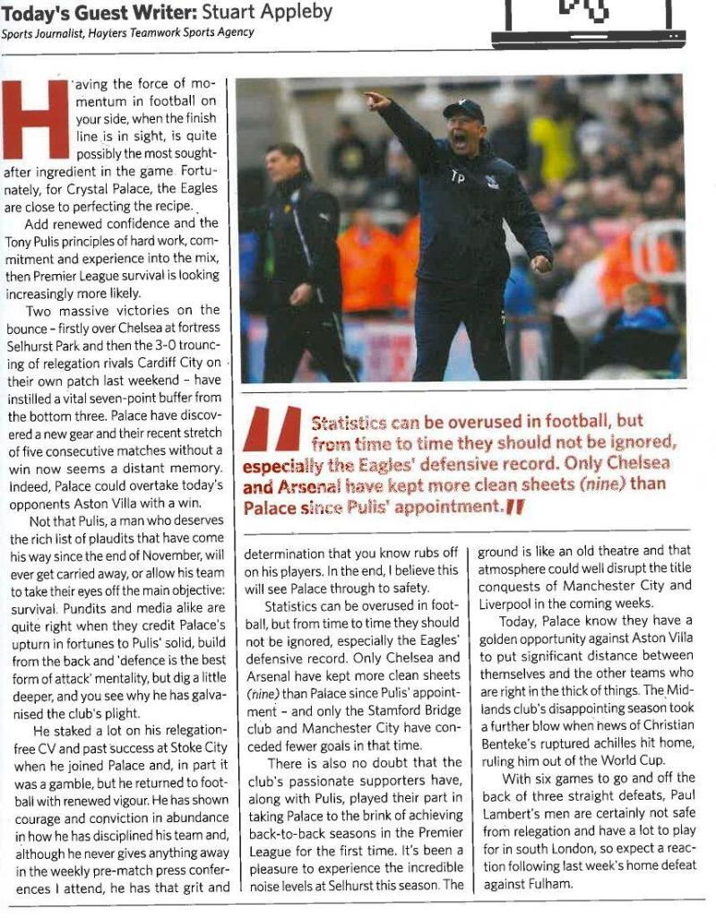 My Crystal Palace comment piece in the club's match day programme