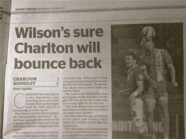 My piece with Charlton's Lawrie Wilson in the London Evening Standard