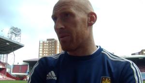 Talking to West Ham defender James Collins at Upton Park