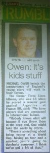 Michael Owen piece in The Sun newspaper