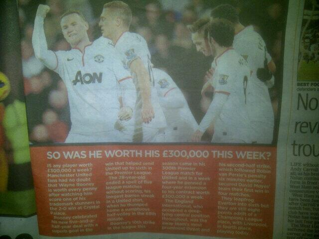My Mail on Sunday piece analysing Wayne Rooney's impact in the game after he signed a new deal worth £300,000 per week