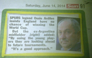 Ossie Ardiles interview in The Sun newspaper