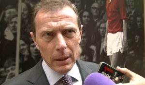 Real Madrid legend Emilio Butragueno in the mixed zone