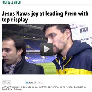 Talking to Manchester City star Jesus Navas after the match