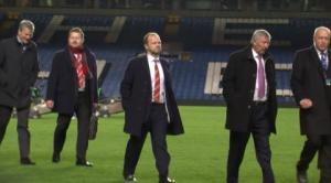Former Old Trafford boss Sir Alex Ferguson and fellow Manchester United board members look glum after the defeat