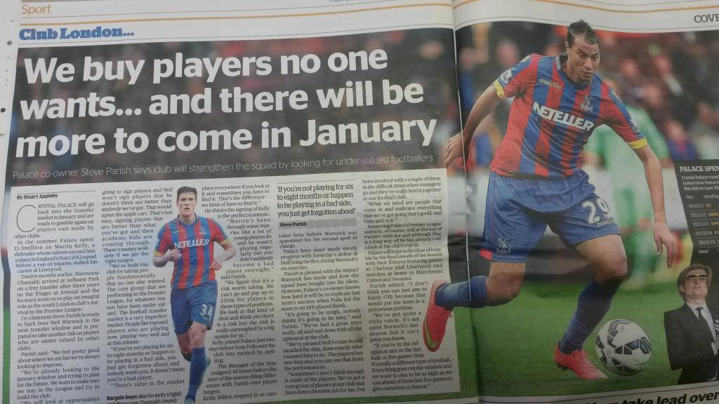 Exclusive interview with Crystal Palace co-chairman Steve Parish for the London Evening Standard