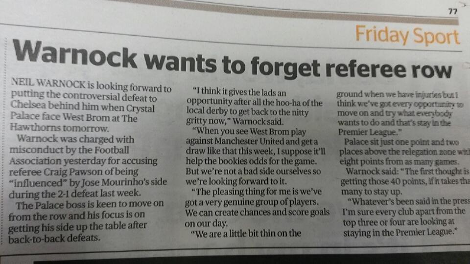 Neil Warnock interview in The Evening Standard